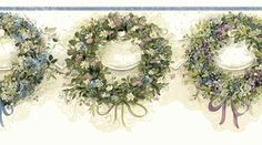 Blue Calico Wreaths Wallpaper Border FAM65071b <br> CLEARANCE!! QUANTITIES LIMITED!!