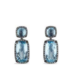 Double-Drop Earrings with Blue Topaz and Gray Diamonds. David Yurman/Blue Topaz