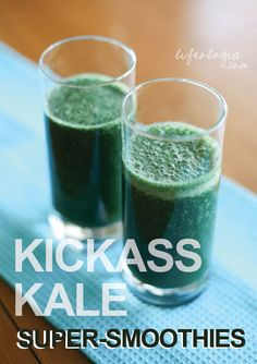 I heart kale.kickass kale : super smoothies via Lifeologia Superfood Recipes, Green Smoothie Recipes, Juice Smoothie, Smoothie Drinks, Healthy Smoothies, Raw Food Recipes, Healthy Drinks, Healthy Recipes, Green Smoothies