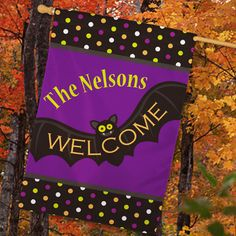 "Personalized Batty #Halloween Welcome House Flags. Nothing gets people in the Halloween spirit like festive decorations, and this personalized house flag is just the thing for your home to look spooktacular! Friends, family and trick or treaters will love the bat design on this personalized gift. This Halloween Personalized House Flag is a large house flag, is printed on one side and measures 29""w x 43"" h. Free personalization of any one line custom message is included."
