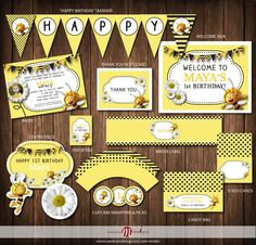 PRINTABLE PARTY: Maya the Bee Birthday Invite Printable Party Package