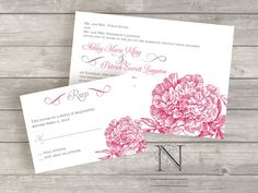 Peony Flower Wedding Invitation set  with rsvp cards and envelopes. $3.50, via Etsy.