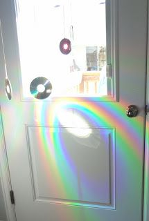 hang old cd's by the window to create rainbows from the sun.