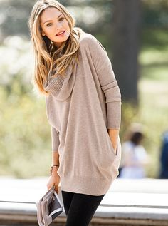 I ordered this in heather grey: Multi-way Tunic Sweater A Kiss of Cashmere