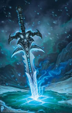 A good image of Frostmourne. Very good to use as a base model to make sure points are correct for the sword