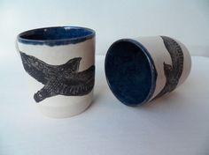 Black Falcon Flying Mug, Natural White With Deep Blue Interior, Artisan Mugs
