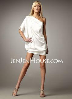 Homecoming Dresses - $119.99 - Sheath One-Shoulder Short/Mini Charmeuse Homecoming Dresses With Ruffle  Beading (022011267) http://jenjenhouse.com/Sheath-One-shoulder-Short-Mini-Charmeuse-Homecoming-Dresses-With-Ruffle--Beading-022011267-g11267