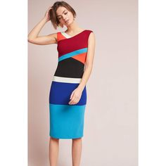 Tracy Reese Geometric Colorblocked Column Dress ($298) ❤ liked on Polyvore featuring dresses, blue motif, color block dresses, pink blue dress, tracy reese, blue colorblock dress and american dress