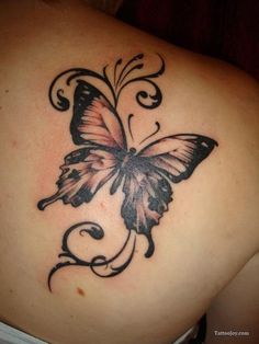 15 gorgeous shoulder butterfly tattoo desgns - Tätowierungen - Tattoo World Realistic Butterfly Tattoo, Butterfly Tattoo On Shoulder, Butterfly Tattoos For Women, Butterfly Tattoo Designs, Shoulder Tattoos, Semicolon Butterfly, Tribal Butterfly Tattoo, Big Butterfly, Gorgeous Tattoos