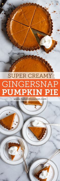 Gingersnap Pumpkin Pie: My very favorite smooth and creamy pumpkin pie recipe with a gingersnap cookie crust via forkknifeswoon.com | @forkknifeswoon