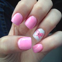 Glitter pink bow solar nails would love these more with a breast cancer ribbon.