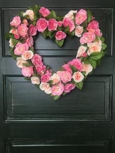 Valentine Wreath Romantic Pink Roses – Heather Hill Wreathery. Great, unique gift this Valentine's Day!