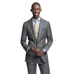J B Ludlow Crew charcoal Ludlow suit jacket with center vent in Italian worsted ...