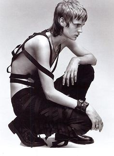 """""""jarrodrc: """" Helmut Lang 2003 harness and mummy pants """" PUNX redux by… Human Poses Reference, Pose Reference Photo, Figure Drawing Reference, Anatomy Poses, Poses References, Figure Poses, Dynamic Poses, Character Poses, Body Poses"""