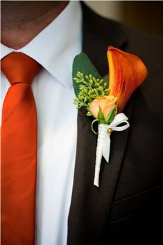 Orange calla lily, orange tie  chocolate suit  French Buckets