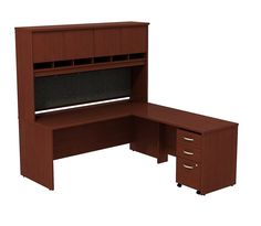 Series C L Shaped Office Desk with 3-Drawer Mobile Pedestal and 4-Door Hutch