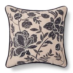 Floral Throw Pillow Blue - Threshold