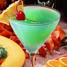 Blue Sunset: 2 oz Malibu 2 oz Pineapple Juice 1/2 oz Blue Curacao: