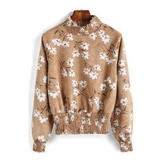 SheIn(sheinside) Yellow Stand Collar Floral Crop Blouse (71 RON) ❤ liked on Polyvore featuring tops, blouses, yellow, crop top, beige blouse, long sleeve blouse, collared blouse and yellow crop top