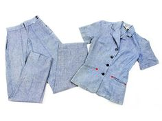 1950s Chambray Western Pant Suit