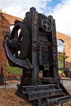 Located at the American Civil War Center at the historic Tredegar Iron Works, this press was used to finish iron and steel parts.  It straightened hundreds of thousands of tons of metal in its lifetime.  The machine weighs about 40 tons, and it generates 1000 tons of force.  It was purchased in the 1920's and was moved to Cleveland when the Tredegar Company's equipment was purchased in 1986.