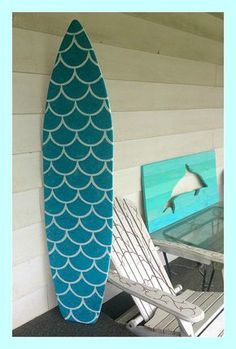 Limited Edition 5 foot wood surfboard wall art Mermaid style