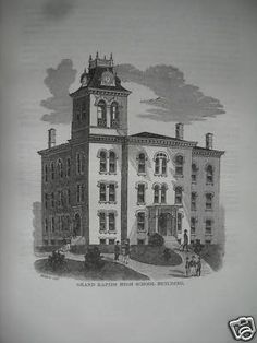 1876  GRAND RAPIDS MICHIGAN HIGH SCHOOL BUILDING