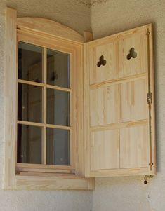 spalettás álosztós ablak Outdoor Shutters, Wooden Shutters, Wooden Windows, Windows And Doors, Wooden Window Design, A Frame House Plans, Cozy Cabin, Scandinavian Home, Play Houses