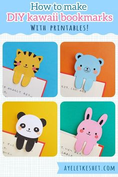 How to make DIY kawaii bookmarks - with printables! Easy craft for kids (and for adults who like kawaii things). crafts bookmarks New tutorial: How to make DIY kawaii bookmarks - Ayelet Keshet Bookmarks Diy Kids, Bookmark Craft, How To Make Bookmarks, Handmade Bookmarks, Corner Bookmarks, Easy Paper Crafts, Easy Diy Crafts, Cute Crafts, Wood Crafts
