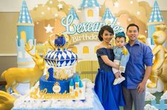 Cake + Birthday Boy + Parents from a Royal Prince 1st Birthday Party via Kara's Party Ideas | KarasPartyIdeas.com (6)