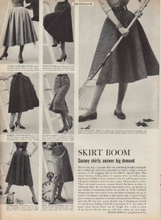 "Description: 1952 SACONY SKIRTS AND BLOUSES vintage print advertisement ""Skirt Boom""""Sacony skirts answer big demand. Sacony blouses top skirts."" Size: The dimensions of the full-page of the advertisement are approximately 11 inches x 14 inches (28cm x 36cm). The dimensions of the additional half-page are approximately 5.5 inches x 14 inches (14cm x 36cm). Condition: This original vintage advertisement is in Very Good Condition unless otherwise noted ()."