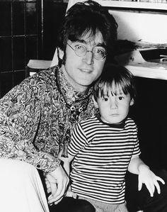 John Lennon with his son Julian at their home in Weibridge, 1967