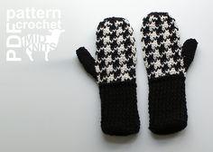 Ravelry: Crochet Houndstooth Mittens (2016007) pattern by Erin Black