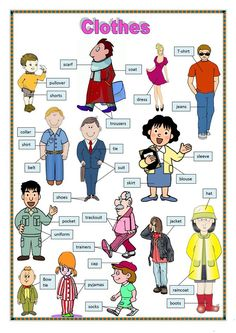 Clothes 1 - English ESL Worksheets for distance learning and physical classrooms Kids English, English Tips, English Study, English Words, English Lessons, Learn English, English English, English Language Learning, Teaching English
