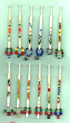 12 BONE EAST MIDLANDS LACE BOBBINS  MONTHS OF THE YEAR   BY HEATHER POWER