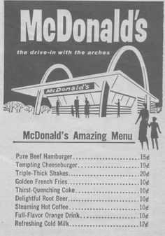 McDonald's Amazing Menu.i remember these 15cent  hamburgers. Paycheck really didn't allow us to send at MCDONALDS'S