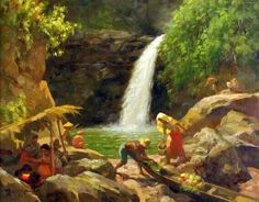 Pagsanjan Falls by Fernando Amorsolo (The Greatest Filipino Painter) Filipino Art, Filipino Culture, Manila, Rio, Philippine Art, Philippines Culture, Autumn Painting, Album, Asian Art