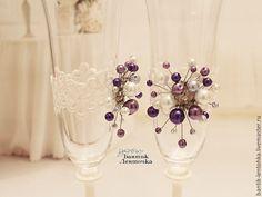 """Купить Свадебные бокалы """"Лиловые мечты"""" - свадебные бокалы, свадебные аксессуары, ленты атласные, свадьба"""