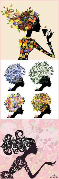 Фантастическая девушка, с цветами и бабочками, с кружкой цветочного чая, на велосипеде, орнамент гламурные волосы - Векторный клипарт