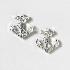 Silver and Crystal Anchor Stud Earrings | Claire's