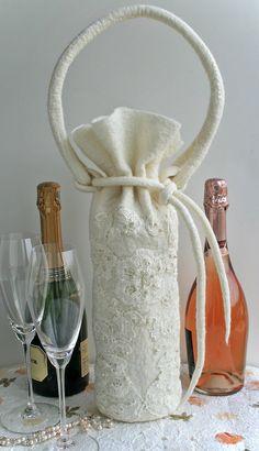 Weiße gefilzte Wein Tote Filz Wolle Weinbeutel Perlen