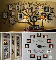 Family portraits, family tree wall art, family wall art clock.