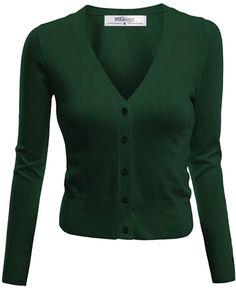 Meaneor Women's Long Sleeve Drop Pocket Button Cardigan Dark Green XL