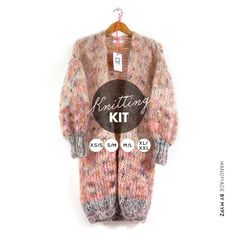 Knitting Kit – MYPZ Half Long Chunky Mohair Cardigan brown Love No15 - M Y P Z Knitting Kits, Knitting Patterns, Cardigans, Sweaters, Knitwear, Brown, Knit Patterns, Tricot, Sweater