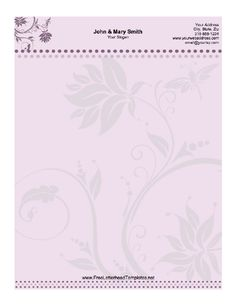 Printable letterhead with delicate purple flowers on a lavender background. Free to download and print