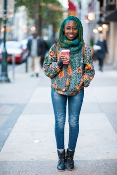 Philadelphia Street Style: Shakari in an Upcycled Rockers Closet Jacket, Walnut St
