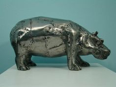 Hippo. Metal sculpture.