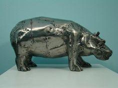 Hippo. Metal sculpture.
