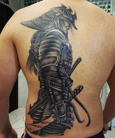 45 Awesome Back Tattoos For Men Samurai Tattoo Sleeve, Samurai Warrior Tattoo, Warrior Tattoos, Demon Tattoo, Norse Tattoo, Viking Tattoos, Japanese Tattoo Art, Japanese Tattoo Designs, Japanese Sleeve Tattoos