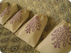 Etsy - becollective-- Purple Muslin Wedding Favor Bags... Would be fabulous filled with some world famous Cafe Du Monde coffee!